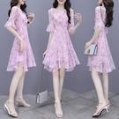 2021夏季新款裙子法式收腰顯瘦修身短袖雪紡小個子短款洋裝女夏 黛尼時尚精品