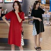 初心 俏麗 波點 【D2786】 韓系 洋裝 短袖 拼接 點點 韓國 質感 洋裝