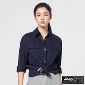 【JEEP】女裝俐落軍裝風長袖襯衫-深藍