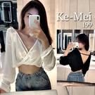 克妹Ke-Mei【AT65344】獨家,初春時尚!心機扭結V吊頸摟空美背造型上衣