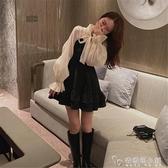 小個子心機赫本小黑裙早春新款氣質假兩件喇叭袖亮閃閃洋裝 「安妮塔小鋪」