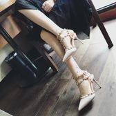 鞋子女新款鉚釘鞋尖頭高跟鞋細跟鏤空小清新柳丁少女單鞋