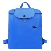 【南紡購物中心】LONGCHAMP Le Pliage Collection系列刺繡摺疊後背包(蔚藍)
