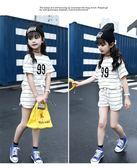 中大童短袖套裝 條紋短袖上衣T恤+條紋短褲二件式 春夏童裝 MC3243 好娃娃
