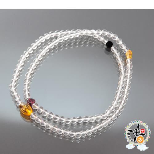 六字咒黃晶+水晶108念珠5mm【 十方佛教文物】
