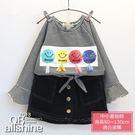 女童套裝 笑臉流蘇T恤+牛仔半身短裙 兩件式 QB allshine