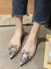 凉鞋透明涼鞋女仙女風夏季粗跟後空單鞋網紅拖鞋名媛一字帶水鑚高跟鞋  【快速出貨】