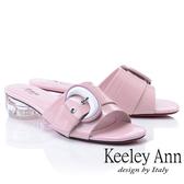 ★2019春夏★造型透視跟 月亮飾釦條帶拖鞋(粉紅色) -Ann系列