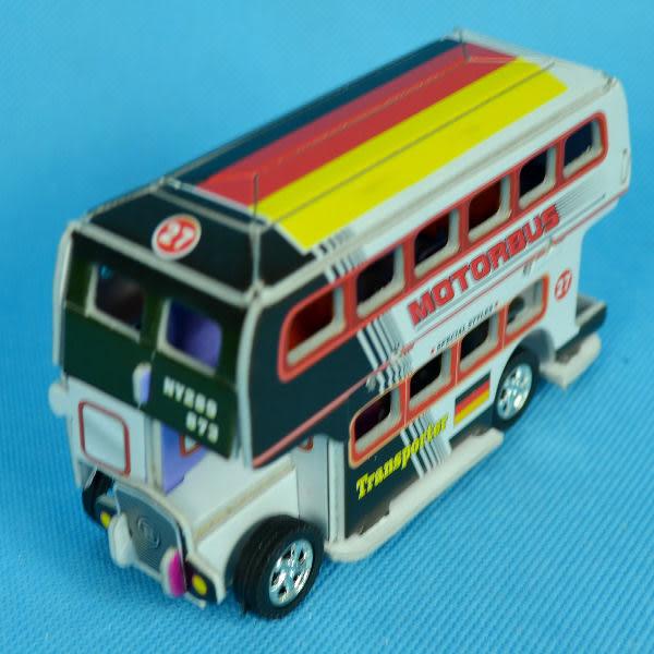 佳廷模型 親子DIY紙模型3D立體拼圖贈品獎勵品專賣店 工程車特種車 迴力雙層巴士3 德國國旗卡樂保
