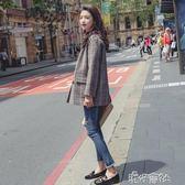 格子西裝外套女短款秋季新款韓版寬鬆復古休閒格紋小西服igo 港仔會社