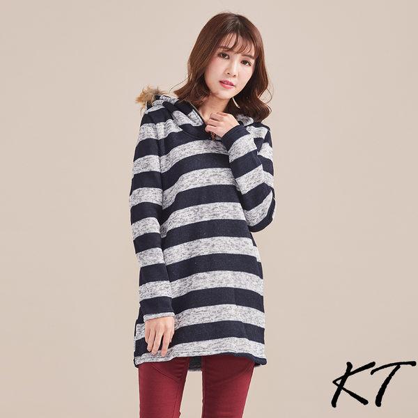 厚針織刷毛連帽上衣(條紋)M-XL【KatieQ中大】