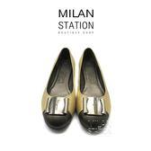 【台中米蘭站】FERRAGAMO 金蔥銀牌圓頭平底娃娃鞋