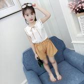 女童套裝 夏季女童薄款洋氣套裝新款短袖短褲時髦兩件套LJ9876『夢幻家居』