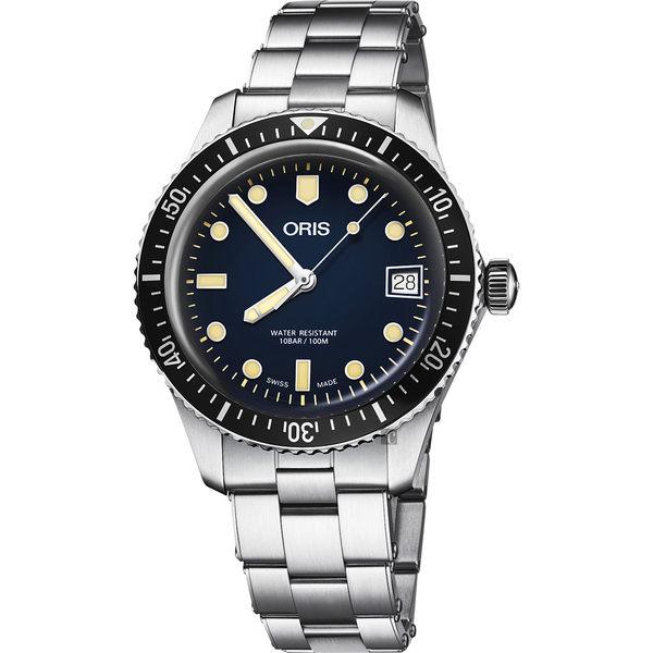 Oris 豪利時 Divers Sixty Five 潛水機械女錶-藍x銀錶帶/36mm 0173377474055-0781718