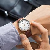 超薄款防水石英男錶女錶情侶錶男士腕錶皮帶學生女士手錶igo     西城故事