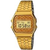 【CASIO】復古風潮的方形經典電子錶-金色菱格紋面(A-159WGEA-9A)