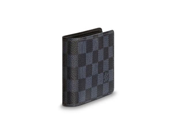 【雪曼國際精品】LOUIS VUITTON LV N63211藍黑色格紋帆布交叉短夾─全新現貨