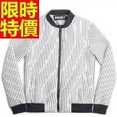 夾克外套 太空棉-經典直條紋運動休閒男立領外套65ac40[巴黎精品]