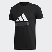 Adidas Badge of Sport男款黑色塗鴉風LOGO短袖上衣-NO.FT2829