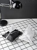 大理石衛生紙盒布藝北歐簡約黑白紋衛生紙套