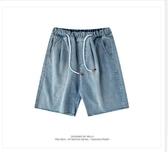 牛仔短褲男 復古淺色牛仔短褲男潮牌寬鬆直筒五5分褲子 超級玩家