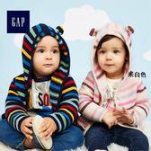 Gap女嬰兒 條紋長袖平織針織衫 375330-米白色