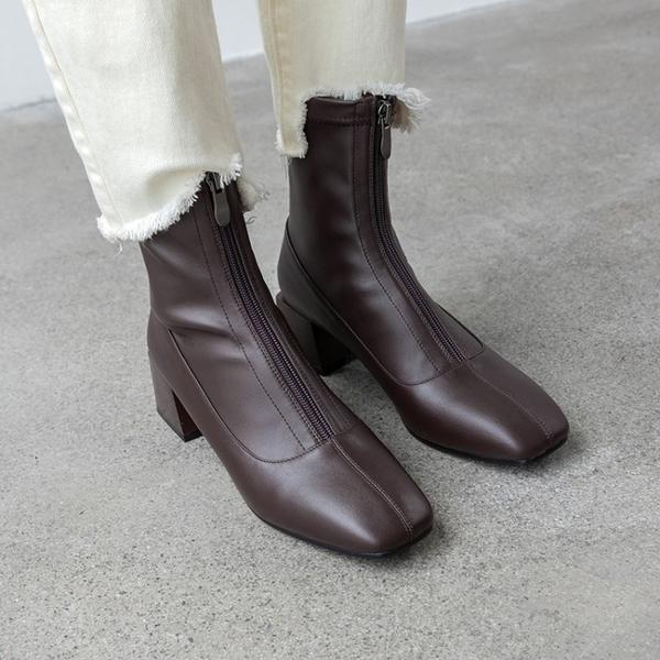 真皮女鞋34-40 2019新款帥氣百搭頭層牛皮彈力靴 素面合腿中跟方頭襪靴短靴子~2色