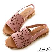 amai柔軟親膚-復古絨面雕花鏤空勾帶涼鞋 粉
