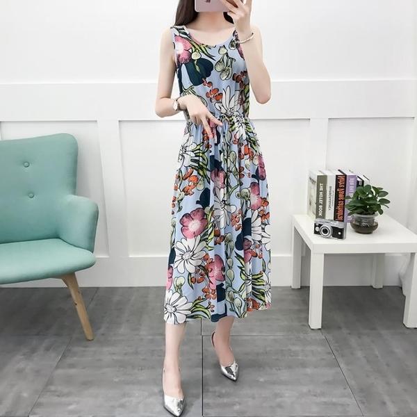 無袖洋裝 棉綢連身裙女裝夏2020新款洋氣顯瘦抽繩碎花無袖沙灘長款背心裙