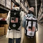 時尚潮流後背包男大容量多功能旅行包女運動健身圓筒包【聚寶屋】
