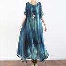 洋裝-文藝寬鬆顯瘦真絲緞長裙含吊帶裙/設計家