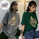 EASON SHOP(GQ1546)實拍復古LOGO卡通狗狗印花落肩寬鬆圓領五分短袖素色棉T恤女上衣服修身打底內搭