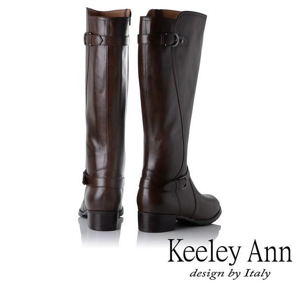 ★2018秋冬★Keeley Ann騎士風格~雙釦帶全真皮質感長靴(咖啡色)
