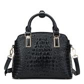 手提包-真皮時尚高貴經典鱷魚紋女肩背包3色73se7【巴黎精品】
