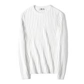 圓領針織衫-條紋純色修身套頭男毛衣2色73wl26【時尚巴黎】