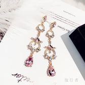 粉色水滴個性耳墜925純銀耳針時尚百搭韓版飾品顯臉瘦的耳釘 DN21102【旅行者】