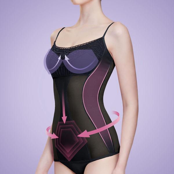 Bast 芭絲媞 Bra迴力定型塑身細肩帶背心 - 黑蕾絲