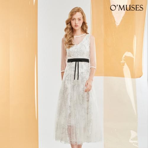 OMUSES 兩件式V領蕾絲伴娘白色洋裝長禮服