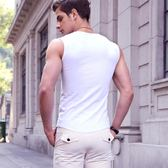 男士背心男夏季棉質青年透氣緊身修身型無袖T恤健身運動寬肩坎肩