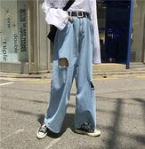 牛仔褲 磨破 闊腿褲 破洞 哈倫褲 休閒 長褲 牛仔褲【MY9909】 icoca  08/09