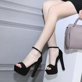 歐美女鞋夜店粗跟防水臺14cm/15公分超高跟恨天高lh442【123休閒館】