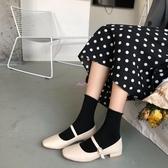 娃娃鞋女日系軟妹可愛淺口單鞋女秋森系方頭娃娃鞋一字扣平底瑪麗珍鞋 JUST M