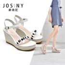 厚底涼鞋 josiny/卓詩尼女鞋子女涼鞋夏季新款坡跟厚底高跟時裝百搭通勤20