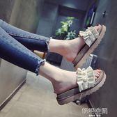 涼拖鞋女夏鬆糕厚底一字拖韓版時尚外穿珍珠平底沙灘拖鞋 韓語空間