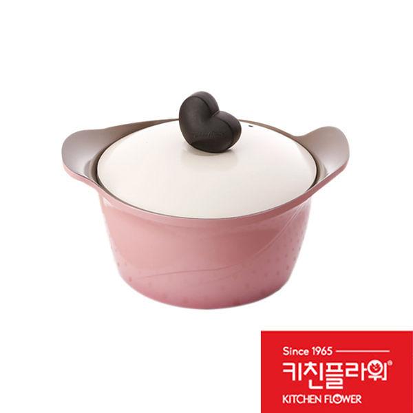 【限宅配】韓國 Kitchen Flower 20cm 愛心玫瑰雙耳燉湯鍋 愛心玫瑰鍋 (購潮8)