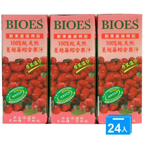 囍瑞 100% 純天然蔓越莓綜合果汁 200ml*24入/箱【愛買】
