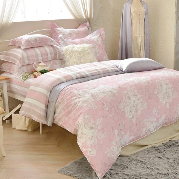 義大利La Belle《薔薇香韻》雙人四件式防蹣抗菌吸濕排汗兩用被床包組