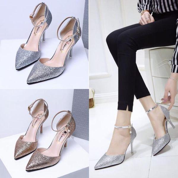 單鞋銀色淺口亮片 一字扣高跟鞋性感 細跟尖頭鞋涼鞋金色工作鞋 K-shoes