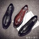 夏季青年透氣休閒鞋韓版潮流英倫尖頭男士真皮內增高商務正裝皮鞋【蘿莉新品】