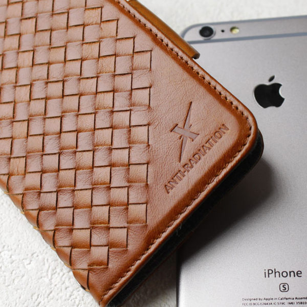 手機 皮套 - iPhone 8 plus / 7 plus - 防電磁波 - 精緻真皮 - 格紋 - 復古駝 【Moxie 摩新科技】